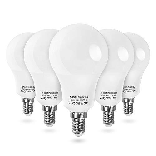 Aigostar - Bombilla LED A60 E14, 7W, Luz Blanca Fría 6400K, Lamparas esfericas, 595 lúmenes, Ángulo 280°- Pack de 5