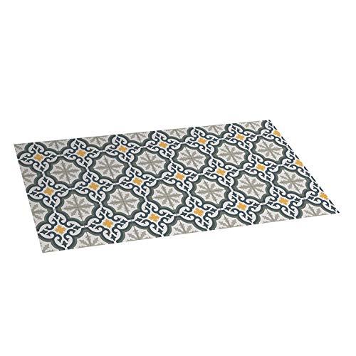 Alfombra vinílica Mosaico, Alfombra de Vinilo Acolchada, Lavable y Antideslizante. Es una Alfombra Ideal para Cocina, salón, dormitorios… (Flor, 50cm x 110cm)