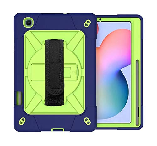 FanTing for iPad Air (2020) 10.9' case,With bracket, With pen slot, all-inclusive design, three-layer shock-proof and durable Protective Case for iPad Air (2020) 10.9'-Navy Blue+Olivine