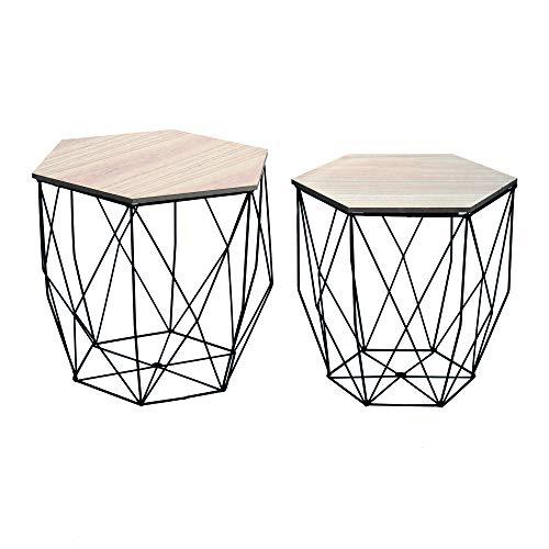 Cribel Modello Hexagon Set da 2 tavolini in Metallo con Base Amovibile in Legno, Struttura Nera, Finitura rovere