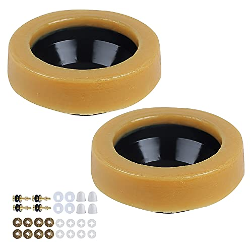 Wax Ring for Toilet 2 Pack, Toilet Bowl Wax Seal Kit with Closet Bolts, Bolt Caps, PE Flange and Extra Retainers, Extra Thick 30mm Thick Wax Ring Gasket for Toilet Bowl- Gas, Odor and Watertight Seal