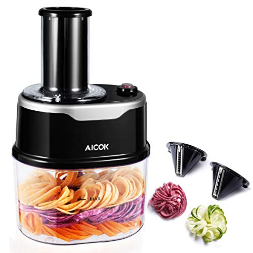 Aicok Electric Spiralizer, 2-in-1 Vegetable Spiral Slicer with 2 Cutting Cones for Veggie Pasta Spaghetti, Low Carb/Keto/Paleo/Gluten-Free Diet, 1.5L