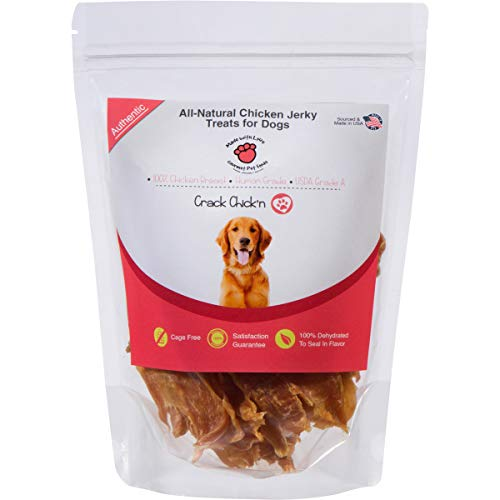 All Natural, Dehydrated Chicken Jerky Dog Treats, 100% Chicken Breast, Human Grade, USDA Grade A, Cage Free, Non-GMO, Grain Free, No Preservatives, Sourced & Made in USA, Great for Training