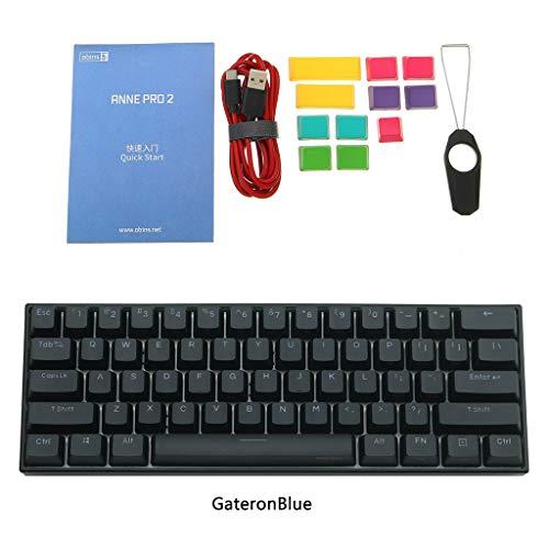 Anne Pro 2 Bluetooth 4.0 Typ-C RGB 61 Tasten, mechanische Gaming-Tastatur, Cherry Switch Schwarz  GateronBlue