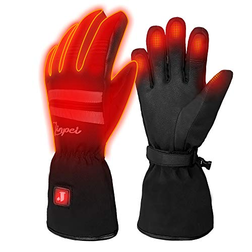J JINPEI Heated Gloves Electric Rechargeable Ski Gloves for Men and Women, Winter Warm Touch Screen Gloves 3 Levels Temperature Control Hand Warmers, Size: S