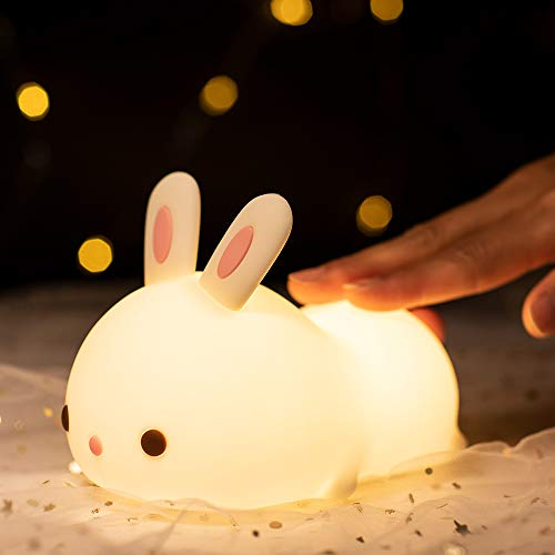 Kids Night Light - Bunny Cute Lamp Silicone Nursery Baby Kawaii Nightlight, Birthday Christmas Holiday Gift Guide Idea for Girls Boys Toddler Children Women Bedroom Decor
