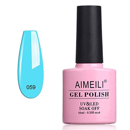 AIMEILI UV LED Gellack ablösbarer Gel Nagellack Hellblau Gel Polish - Neon Pacific (059) 10ml
