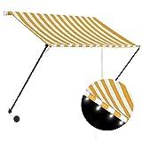 Goliraya Toldo retráctil con LED Toldo Terraza Toldos Impermeables Exterior, Amarillo y Blanco 150x150 cm