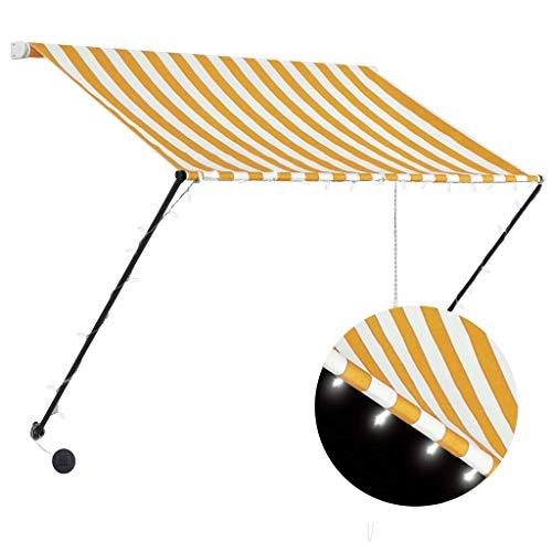 UnfadeMemory Einziehbare Markise Gartenmarkise Markisen mit LED-Beleuchtung Stahlgestell und Polyester mit PA-Beschichtung Handbetrieben Sonnenmarkise Außenmarkise (150x150 cm, Gelb/Blau)
