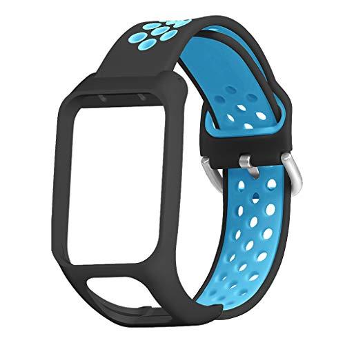 Ixkbiced Reemplazo de Dos Colores de Silicona con Correa de muñeca para Tomtom Runner 3 / Adventurer/Golfista 2 / Runner 2 Cardio/Spark 3 Music Smart Watch Accesorios