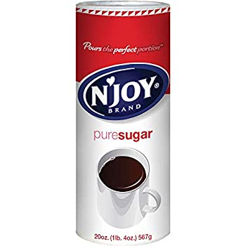 N Joy Sugar Canister | 20 Ounce Pack of 6 | 100% Pure Granulated Sugar| Easy Pour Lid Bulk Size