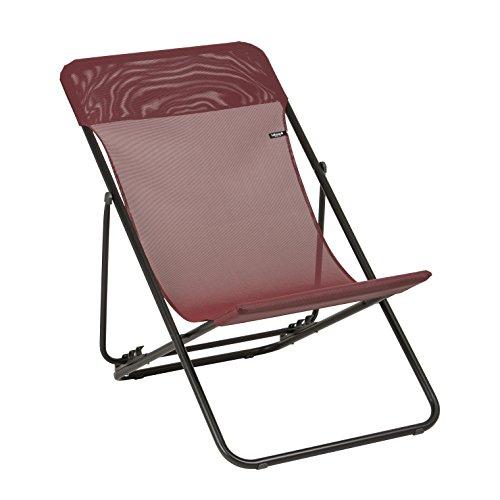 Lafuma LFM25028230 - Chaise Longue, Position réglable, Structure en acier HLE, Batyline, Maxi Transat, Couleur : Rubis - 94 x 56 x 83 cm