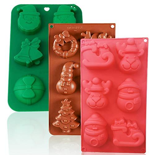 CHEPL Natale Stampi in Silicone 3PCS Christmas stampini in Silicone Sapone in Silicone Stampo Formine Stampi per Caramelle,Gelatine,Torte e Cioccolatini