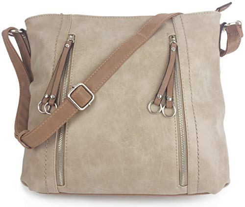Designer Handbags for Women MILANO Classic Italian Styled Fashion Shoulder Bag/Slouch in Beautiful Matt Finish Vintage Faux Nu Buck Leather with Adjustable Shoulder Strap. (Oatmeal)