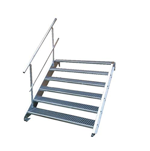 Stahltreppe Industrietreppe Aussentreppe Treppe 6 Stufen-Breite 100cm Variable Geschosshöhe 90-120cm mit einseitigem Geländer