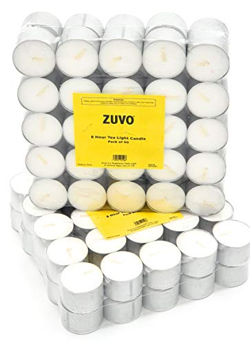 Zuvo [50 Pack] Tea Light Candles 8 Hour Burn Time White Unscented 3.8Cm x 2.3 cm 23 g (50 Pack), 90126C