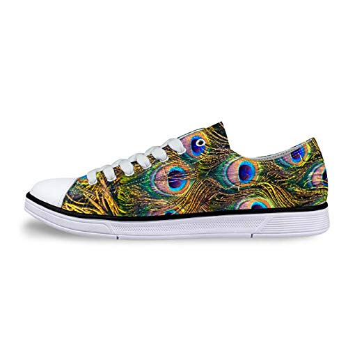 Women Low Top Canvas Shoes Peacock Feather Design Sport Trainers Flats Loafers Gold UK 4/EUR 37