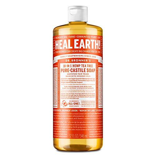 - Jabón mágico puro de Castilla del Dr. Bronner, 18 usos en 1, árbol del té de cáñamo, botella de 946 ml.