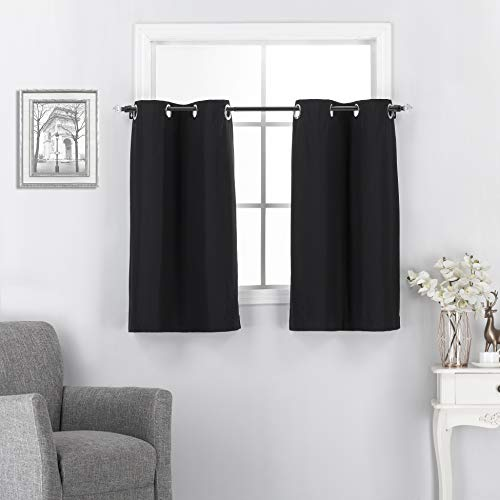 Short Black Curtains Tiers for Window - Grommet Insulated Room Darkening Blackout Curtains/Drapes for Kitchen / Basement Office Decor 2 Pcs, 30 x 36 inch per Panel, Black