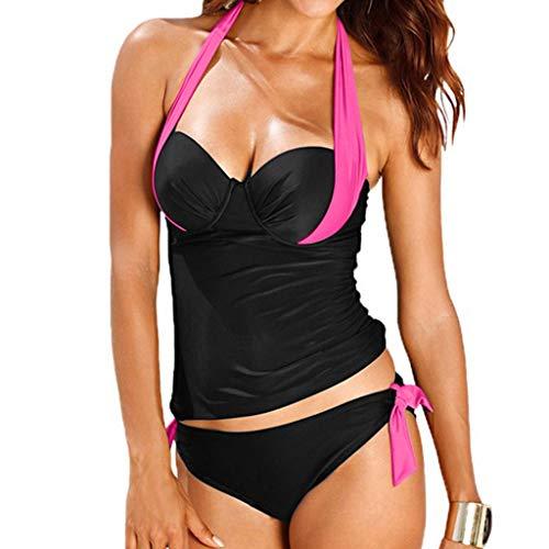 Kanpola Tankini Mit BüGel Neckholder Zweiteiliger Badeanzug Damen Bustier Bikini Slim-Fit Gepolstert Bandeau Bademode