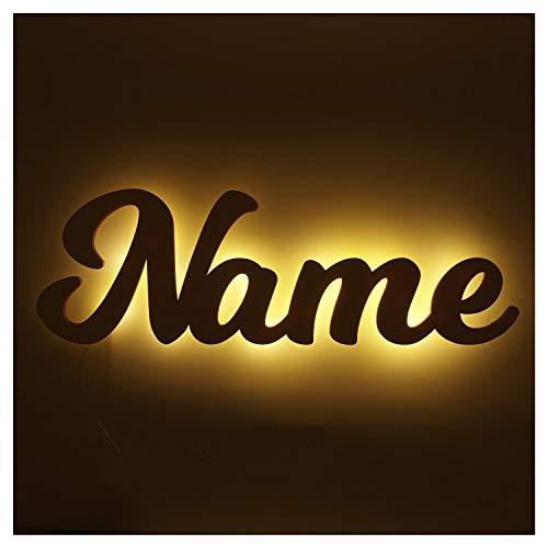 Namensschild Kinderlampe aus Wunsch Namen - LED Hintergrundbeleuchtung Geschenke zur Geburt Taufe Kommunion Firmung Mädchen Junge Jungs