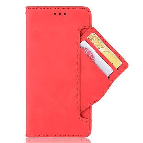 SCRENDY Funda Motorola Moto E40, Cuero Retro Cover, Piel PU Suave Flip Folio Caja Soporte Plegable Funda Cáscara, Wallet Case con Ranuras para Tarjetas, Rojo