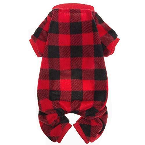 SCENEREAL Pet Pajamas for Dogs Red Plaid Sweaters