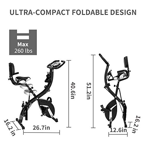 LINCINK Folding Magnetic Upright Exercise Bike Portable Fitness Cycle with Arm Resistance Bands Extra-Large Adjustable Seat Pulse 3-in-1 Cycling Indoor Trainer for Home