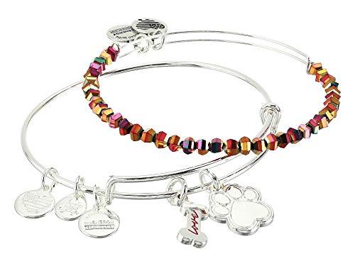 Alex and ANI Dog Bone and Paw Set of 2 Bangle Bracelet Shiny Silver One Size