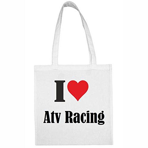 Reifen-Markt Tasche I Love Atv Racing Größe 38x42 Farbe Weiss Druck Schwarz