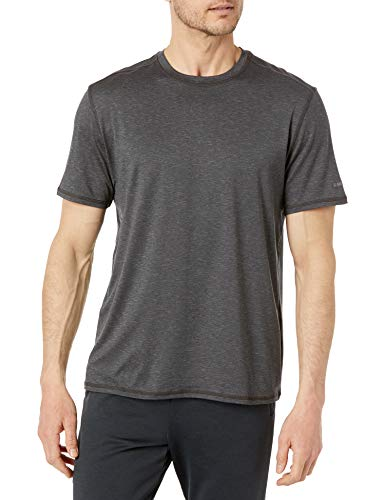G.H. Bass & Co. Men's Short Sleeve Stretch Performance Crewneck Solid T-Shirt, Black Heather, X-Large