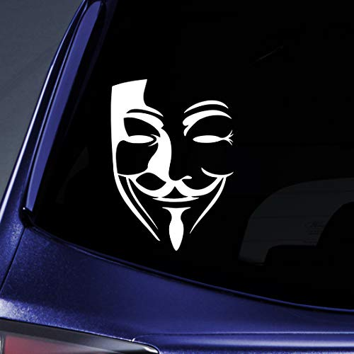 Bargain Max Decals - (2X) V for Vendetta Graffiti Anonymous Mask Revolution Sticker Decal Notebook Car Laptop 6' (White)