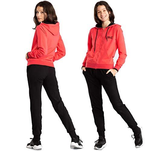 Everlast tuta da donna leggera completo sportivo elasticizzato con cappuccio corallo nero (M)