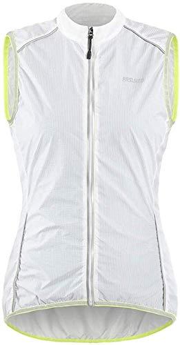 Reflecterende Fietsen Vest Vrouwen, High Visibility mouwen Jacket Sports Gilet met rits Lichtgewicht winddicht, for fietsen/lopen/Motorbike (Color : White, Size : S)