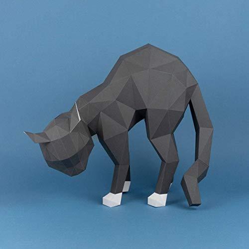 Gato Asustado Papercraft kit,Yona DIY Kit de origami 3D para montar a mano, 3D Puzzle para la decoración de hogar,Trofeo de papel, Regalo de papel,Bricolaje en papel, Rompecabezas 3D