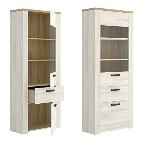 HABITMOBEL Mueble Vertical Vitrina 2 Puertas, Salon Comedor, Medidas: 75cm (Ancho) x 33 cm (Fondo) x 188 cm (Alto)