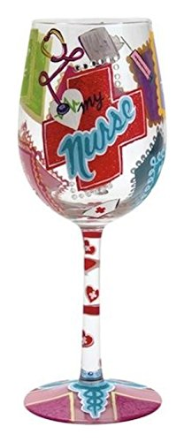 "Designs by Lolita ""Love My Nurse"" Hand-painted Artisan Wine Glass, 15 oz."