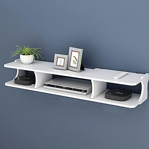 Estante flotante de componentes de TV, estante de almacenamiento de administración de cables de dos capas montado en la pared, estante decorativo multifuncional montado en la pared/White / 80*