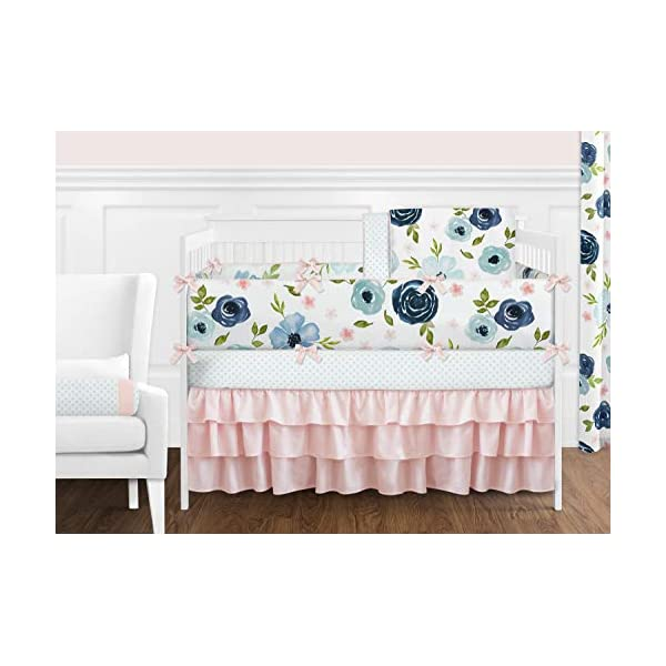 Sweet Jojo Designs Navy Blue and Pink Watercolor Floral Baby Girl Nursery Crib Bedding Set with Bumper – 9 Pieces – Blush, Green and White Shabby Chic Rose Flower Polka Dot