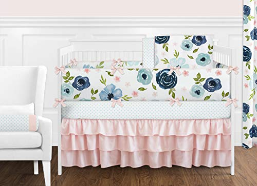 Sweet Jojo Designs Navy Blue and Pink Watercolor Floral Baby Girl Nursery Crib Bedding Set with Bumper - 9 Pieces - Blush, Green and White Shabby Chic Rose Flower Polka Dot