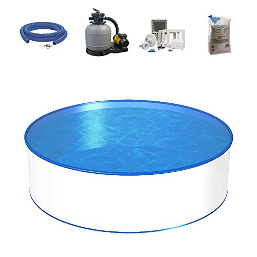 Poolset, Größe & Tiefe wählbar, 0,8mm Stahlwand, 0,6mm Poolfolie, Sandfilteranlage SF und Filtersand, Skimmer- und Schlauch-Set-350 x 150cm