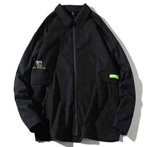 europäische und amerikanische Trendy Große Herrenjacke, japanischer Stil, einfach zu waschen, Latzhose Junge Farbe Uni Frühling Gr. XXXL, Schwarz