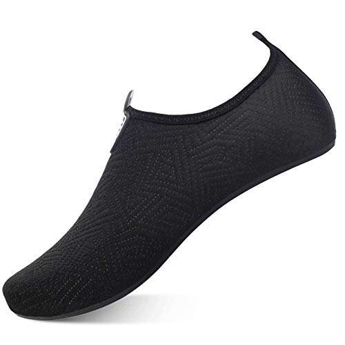 ANFTFH Wasserschuhe Strandschuhe Schwimmschuhe Barfussschuhe Yoga AquaSchnell Trocken Socken für Damen Herren YW Black 40/41 EU