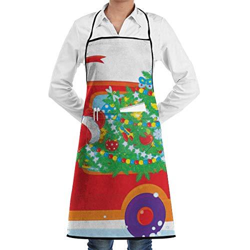 Pag Crane Grembiuli da Babbo Natale con Grembiule da Cuoco Chef con Albero di Natale - Tasche per Regali di Compleanno, Natale e Ringraziamento per la Tua Famiglia