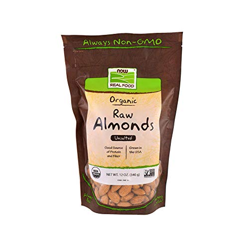 Now Foods Certified Organic Almonds, Raw and Unsalted, Good Source of Protein and Fiber, Grown in the USA, Certified Non-GMO, 12 Ounce