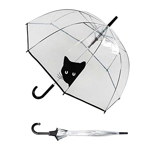 Susino Parapluie femme cloche/dome transparant - Smati (transaprent chat) paraplu, 83 cm, 85 liter