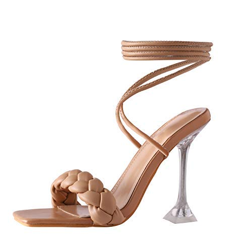 Shoe'N Tale Womens Fashion Open Toe Pearl Clear Stiletto Pump High Heeled Single Band Ankle Strap Dress Gladiator Sandals (7,Nude)