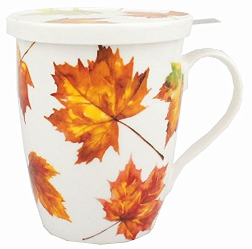 McIntosh Maple Leaf Forever Fine Bone China (15 oz) Tea Mug with Lid and Infuser