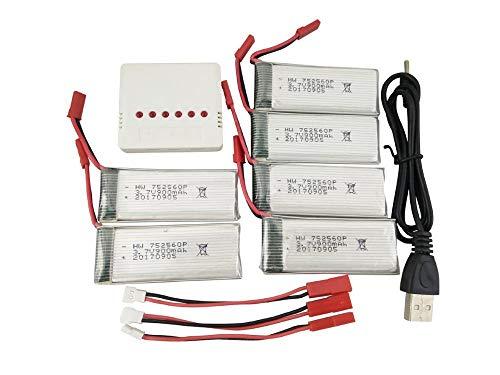 mrwellog Juego de baterías de Litio 3.7V 900mAh 6PCS con Balance 6in1 (Blanco) y línea de conversión de 3PCS para Drone 8807 / 8807W