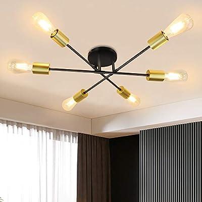 Depuley 6 Lights Semi Flush Mount Ceiling Light, Adjustable Modern Sputnik Chandelier, Industrial Vintage Lamp Lighting Fixture for Kitchen, Dining Room, Living Room, Bedroom, Foyer, E26 Base